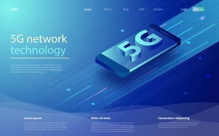 5G network wireless technology. Isometric futuristic hi-tech smartphone with big letters. Landing page design for wireless technology 5g. 5G network wireless with high speed connection.