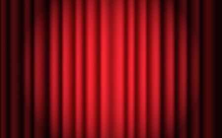 Luxury scarlet red silk velvet curtains and draperies interior decoration design. Luxurious indoor red curtain illuminated spotlight. Red theatre curtain