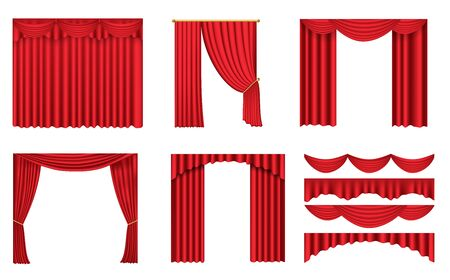 Diseño de decoración de interiores de cortinas y cortinas de terciopelo de seda rojo escarlata de lujo. Conjunto de cortinas rojas de lujo realistas de varios diseños en cornisas con elementos dorados.