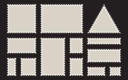 Postage stamps frames. Blank postage stamps set on dark background. Set of templates of blank postage stamps of various shapes.