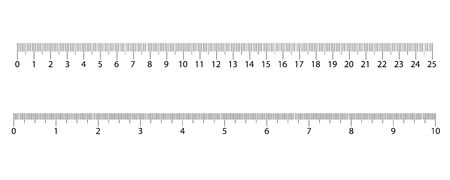 Linijki calowe i metryczne. Centymetry i cale skali pomiaru cm wskaźnik metryki. Skala linijki w calach i centymetrach.