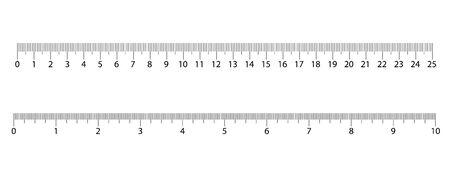 Reglas métricas y en pulgadas. Centímetros y pulgadas escala de medida cm indicador métrico. Escala de una regla en pulgadas y centímetros.