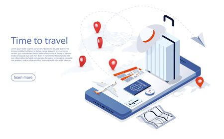 Travel, tourism and booking app, bag, passport, tickets and passenger airplane on a mobile touch screen smartphone. Travel and vacations concept with suitcase, plane ticket, passport, compass