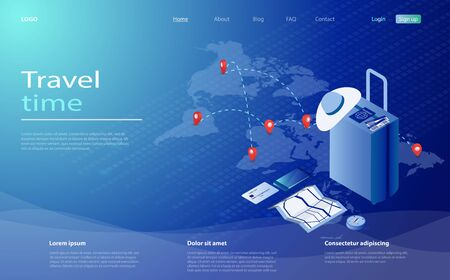 Travel and tourism booking concept. Travel equipment, passport, tickets and luggage on a background of a world map with points of visit. Time to travel tourism toster concept isometric vector Archivio Fotografico - 141533105
