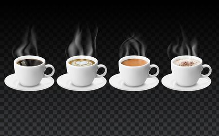 3d realistic different sorts of coffee in white cups view from the top and side. Hot cappuccino latte americano espresso cocoa in realistic cups. 3d model for cafe menu. Realistic steam over cups