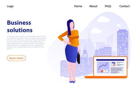 Businesswoman on background of big city. Concept of business solutions, business management, online communication, finance, project management, business communication, document management, consulting Illusztráció