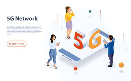 5G network technology, isometric concept vector illustration. Website landing template. Isometric smartphone with big letters 5g and tiny people. 5G network wireless technology
