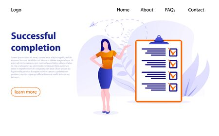 Businesswoman checking task success, completed business tasks. Successful completion business tasks. Woman nearby marked checklist on clipboard paper. Successful execution tasks from to check list