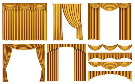 Golden luxury curtains and draperies interior decoration. Set of realistic luxury curtains of gold fabric on cornices. Elegance gold curtain. collection of gold satin curtain for the theater scene