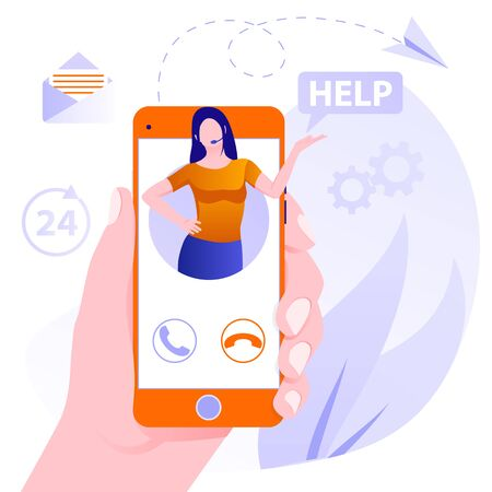 Customer support concept. Concept customer and operator, online technical support 24-7. Flat female support and client service staff worker. Female hotline operator advises client Illusztráció