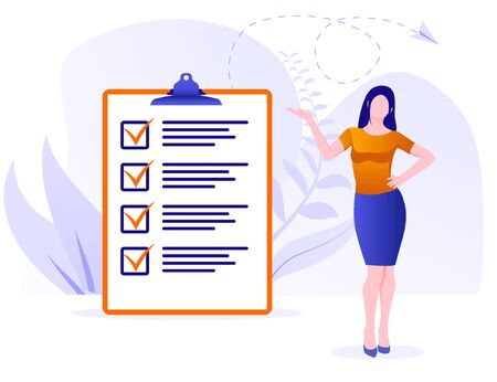Businesswoman checklist concept. Business woman nearby marked checklist on a clipboard paper. Successful woman checking task success, completed business tasks. Check mark list