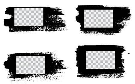 Grunge stencil frames. Painted frame ink splatter texture and stencils border. Set frames ink splatter texture template square. Grunge styled painted frame. Illusztráció