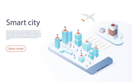Smart city or intelligent building isometric vector. Futuristic smart city concept, buildings connected with automated technology to manage and control. Smart city technology isometric concept.