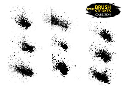 Vector large set different grunge brush strokes. Dirty artistic design elements isolated on white background. Black ink vector brush strokes. 向量圖像