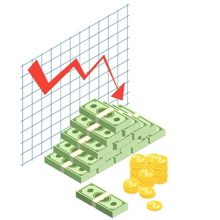 Money loss vector illustration cash with down arrow stocks graph. Bad finance graph. Financial crisis, investment expenses, economic depression bankruptcy business. Cash loss graph