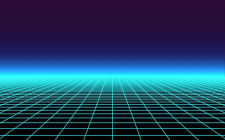 Retro background futuristic landscape 1980s style. Vector perspective grid. 80s sci-fi or game style. Retro neon background with 80s styled laser grid.