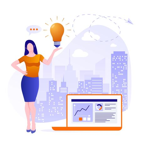 Concept search for new creative ideas, brainstorm, catch an idea. Business woman holds a light bulb on a background of a big city. Concept of generating innovative ideas Zdjęcie Seryjne - 142058357