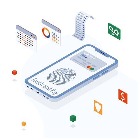 Electronic bill, online payment, pay history, smartphone with credit card. Concept of mobile payments, finance data protection. Payment fingerprint. smartphone with debit card app touch pay on screen. 矢量图像