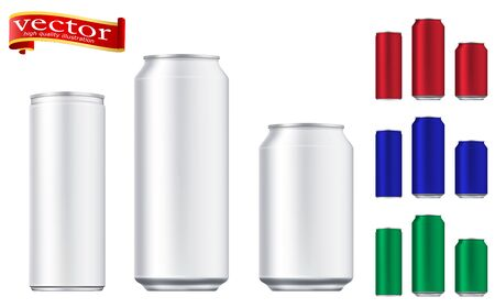 Vector aluminium beer and slim soda can mock up blank template. Juice, soda, beer jar blank. Aluminum can for design. Realistic aluminum cans. Easy to change color. 矢量图像