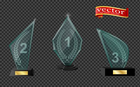 Realistic glass trophy awards. Trophy and award prize, sport cup transparent realistic. Trophy and award prize, sport cup transparent realistic, vector illustration. 矢量图像