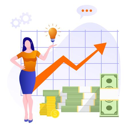 Financial consultation. Statistics for increasing income. Pile cash with red rising graph with upward arrow. Business success financial growth diagram. Successful Business woman with Money coins cash. 矢量图像