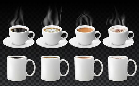3d realistic different sorts of coffee in white cups view from the top and side. Cappuccino latte americano espresso cocoa in realistic cups. 3d model for cafe menu