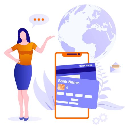 Concept of mobile money transfers around world. Young woman offers to make a money transfer from smartphone on background of globe. Send and receive money from your smartphone.