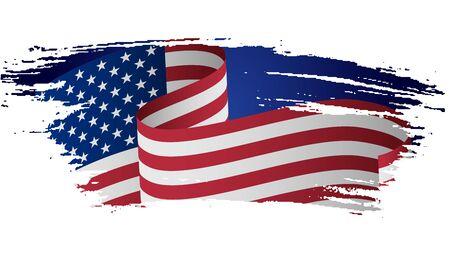 Drapeau américain grunge. Drapeau des États-Unis, les États-Unis d'Amérique dans le style grunge. USA, drapeau américain avec texture grunge pour l'indépendance, les anciens combattants, le mémorial, le travail, les présidents, le jour de la Constitution. Vecteurs