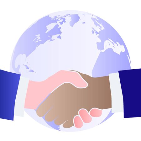 Handshake men of different nationalities, the conclusion of the contract, the successful partnership and cooperation. Handshake business, symbol of success deal, happy partnership, greeting shake