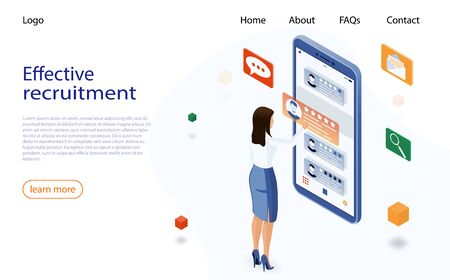 Isometric hiring and recruitment concept. Job hr resource, business woman employer character. Hiring and recruitment concept for web page.
