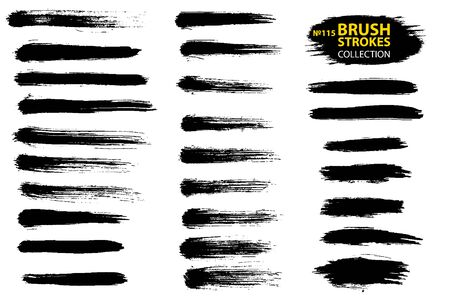 Vector black paint, ink brush stroke, brush, line or texture. Collection of black paint, ink brush strokes, brushes, lines, grungy. Grunge backgrounds. Isolated on white background