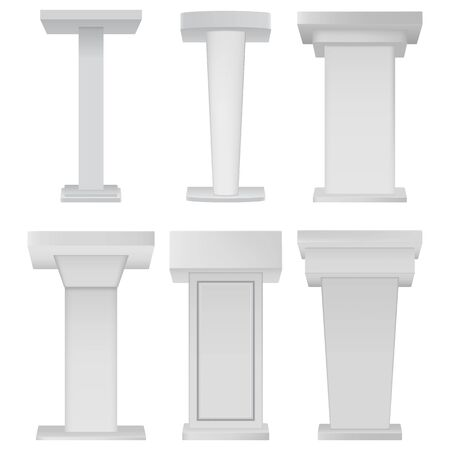 White Podium Tribune Rostrum Stands on white background. Blank podium tribune debate or stage stand empty template mockup set for business presentation, conference.