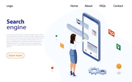 Woman uses a smartphone to search for information on the Internet. Search engine optimization for business. Isometric vector concept web analytics, SEO, website optimization marketing. SEO concept Illusztráció