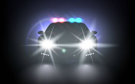 Police car with flashing light realistic composition night urban scenery stylish automobile silhouette with headlights. Flash red and blue light police car. Bright special red blue police light beams. Illusztráció