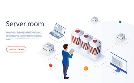 IT engeneer with modern tablet in network server room. Web hosting isometric vector for landing page. Data center with digital devices. Big data center, server room, cloud storage, data rpocessing.  イラスト・ベクター素材