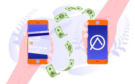 Mobile money transfer app. Money transfer from and to wallet. People sending and receiving money wireless with smartphones. Mobile payment. Internet banking concept. Wireless money transfer.