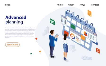 Planning schedule concept banner with business people. Web page design templates for advanced planning. Man and woman make a plan, schedule of meetings, tasks. Planning schedule and calendar concept