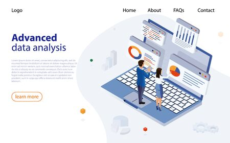 Data analysis design concept. Business data analytics process management. Analysts work, conduct data processing, a laptop with graphs and diagrams, the man and woman in business suits.