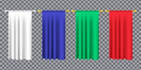 3d model of a realistic empty pennant, color changes easily. 3d realistic textile flag. Royal flag banners and heraldic pennants hanging on poles. Hanging realistic team pennants, canvas flags. 矢量图像