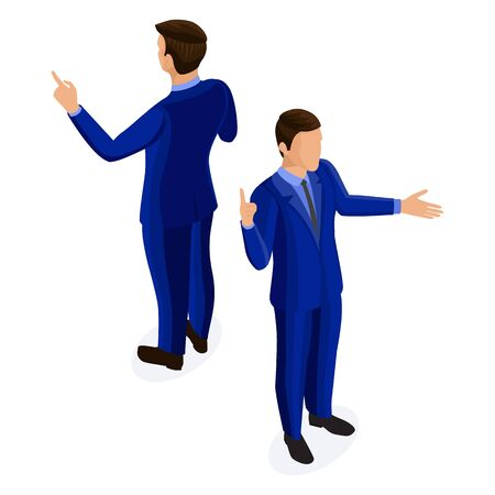 Isometric businessman in business suit. Business people front view rear view isolated on white background. Isometric cartoon man in jacket and trousers gesticulates, explains with arms spread wide 矢量图像