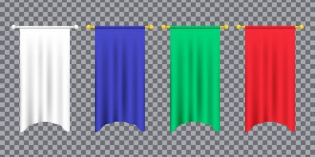 3d model of a realistic empty pennant, color changes easily. 3d realistic textile flag. Royal flag banners and heraldic pennants hanging on poles. Hanging realistic team pennants, canvas flags. Ilustrace