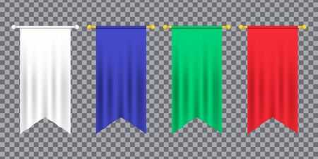 3d model of a realistic empty pennant, color changes easily. 3d realistic textile flag. Royal flag banners and heraldic pennants hanging on poles. Hanging realistic team pennants, canvas flags