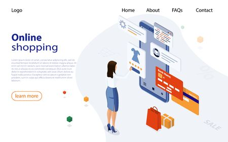 Woman shopping from smartphone in online store. Online Shopping Website on smartphone. Easy E-commerce Website Shop by Smartphone. Concept of Online shopping, mobile marketing and e-commerce 矢量图像