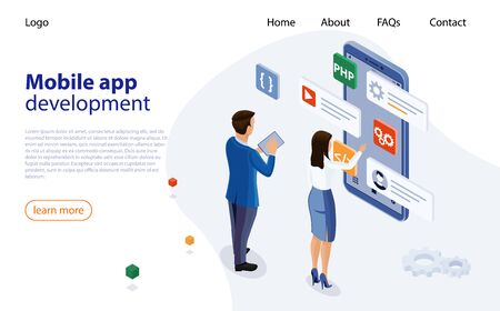 Mobile app designers man and woman are developing new app. Application Programming Interface, software development tool. Mobile application development process. Programming and coding app development. 矢量图像