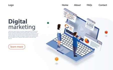 Landing page concept marketing strategy for website. Digital marketing, digital technologies concept. Business analysis, content strategy, management. Web Banner for business, social media marketing.