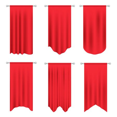 Red long sport advertising pennants banners samples. Pennant flag set vector. 3d model of a realistic empty pennant, color changes easily. 3d realistic textile flag