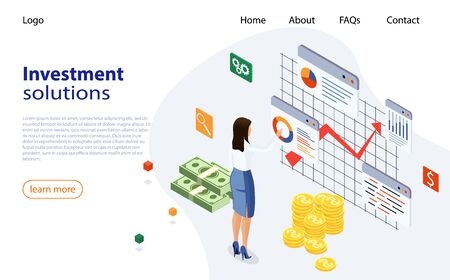 Landing page template of Investment Solutions. Bank development economics strategy. Business investment, business solution, analysis, innovative ideas. Ivestment analysis concept banner with female. 矢量图像