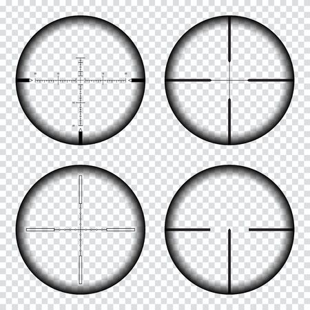 Sniper scope crosshairs view. Sniper rifle aim isolated on transparent background. Target aim and aiming to bullseye signs symbol. Sniper scope with measurement marks