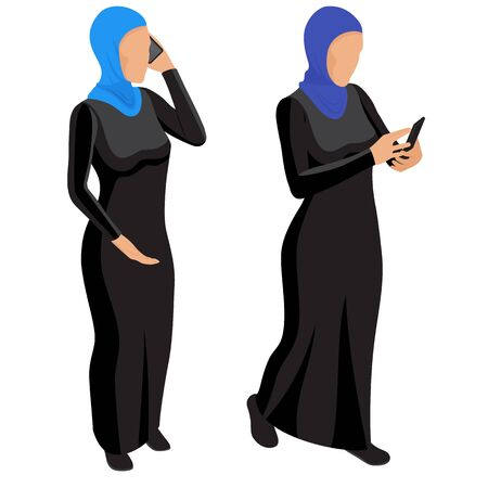 Arab muslim woman character isolated on white background. Arab young business woman in national dress talking on the phone. Vector isometric. Arab girl character, saudi cartoon female Ilustrace