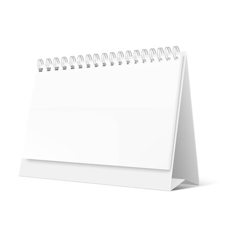 Blank desktop calendar isolated on white background. Blank desktop spiral calendar. Realistic white blank standing desk calendar with a spiral Ilustrace